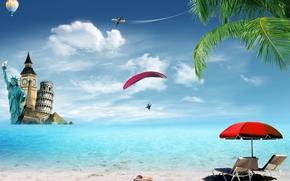 tropicale, estate, Vacanza, viaggi, spiaggia, palme, mare, oceano, sunshine, spiaggia, mare, Palme, tropici, sabbia