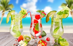 tropicale, cocktail, spiaggia, frutti, palme, estate, bere