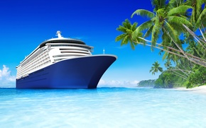 sea, tropics, recreation, beach, Palms, ship, sea, Tropics, holiday, beach, Ship