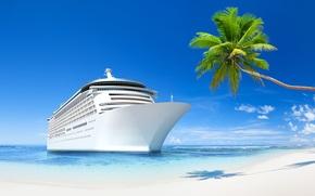 sea, tropics, recreation, beach, ship, sea, Tropics, holiday, beach, Ship