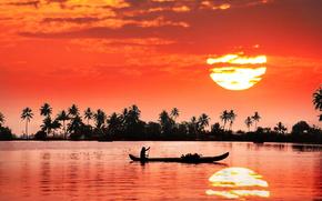 uomo, puntellare, India, imbarcazione, fiume, tramonto, riflessione, sole
