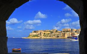 Malta, arco, vista del grande porto, Bighi