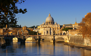The Vatican, View of the St. Peter's Basilica with the Ponte Sant 'Angelo, bridge