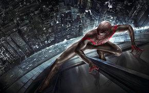 stradale, macchinario, New Spider-Man, città, riflessione, tuta