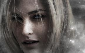 visage, fille, yeux bleus, Art, taches de rousseur, cheveux