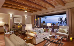 дизайн, кресла, свечи, интерьер, лампы, море, столы, диван, пальмы., стулья, столик