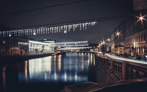 river, street, petersburg, Russia, evening, Fontanka, Peter, spb