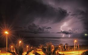 embankment, lights, shore, sea, lightning, CLOUDS, evening, sky, lights