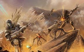 weapon, Rocks, Art, Robots, soldiers, battle
