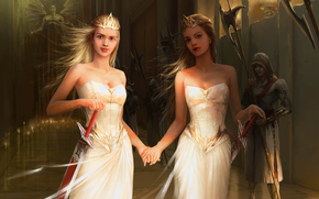 Swords, Girls, Dresses, Crown, Candles, statue