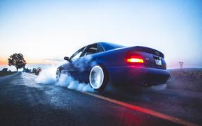 дым, дрифт, ауди, Audi, синяя