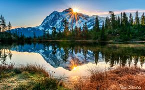 Raggi, mattinata, Ottobre, Washington, Vulcano Mount Baker, riflessione, foresta, autunno, sole, lago, USA
