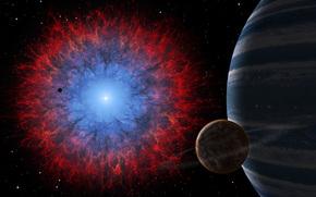 Universo, flash, nebulosa, planeta, explosión