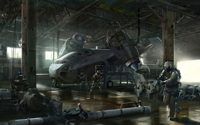 Art, soldiers, plane, transportation, weapon, hangar, ship