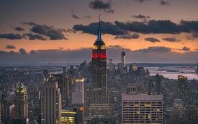 coucher du soleil, USA, L'Empire State Building, Manhattan, île, nebskreb, New York