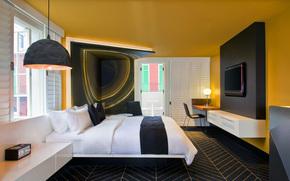 stile, progettazione, città, appartamento, CAMERA DA LETTO, interno, stanza
