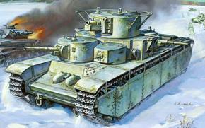 Moscow, tank, Soviet, only, five-turret, standard, A.Zhirnov., guns, Guns, padded, caliber, WWII, ussr, German, DT, Unreleased, for, winter, artist, battle, Art, world, heavy, left