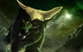 wolf, lightning, canines