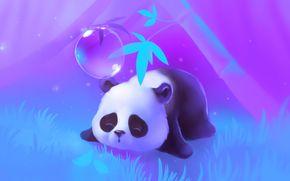 дерево, панда, спит, трава, огоньки, лежит, пузырь