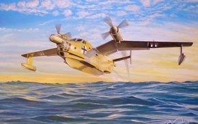 "takeoff, antisubmarine, Art, clouds, plane, boat, on, ""The Seagull"", sky, water, Dawn, drawing, amphibian, Flying"