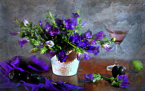 Flowers, wineglass, TEXTURE