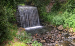 waterfall, small river, trees, stones, plants, nature