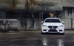 Front, BMW, BMW, reflection, wet, asphalt, white