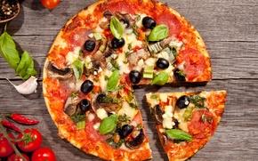 salam, felie, condimente, usturoi, pizza, fel de mâncare, roșii, brânză, alimente, măsline