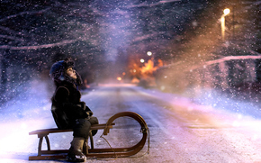 winter, road, nature, snow, bokeh, baby, trees