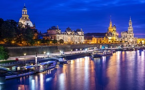 Elba, reflection, Dresden, Germany, architecture, lights, wharf, building, light, night, city, river, Altstadt, Boat, water