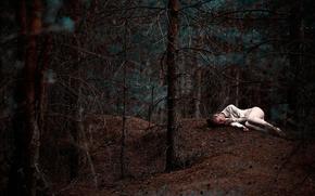 soledad, chica, bosque