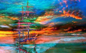 облака, небо, парусник, море, корабль