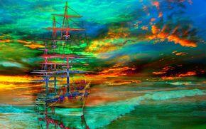 云, 天空, 旗鱼, 海, 船