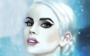 девушка, взгляд, белые волосы, снег, глаза, лицо, холод, макияж, губы, арт