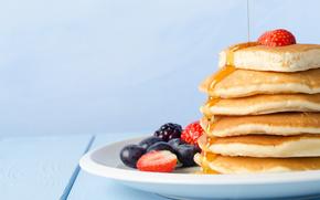 Pancakes, strawberries, blueberries, fritters, Pancakes, blackberry, honey, BERRY, food, plate