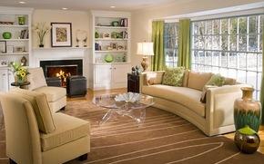 tavolo, caminetto, Divani, finestra, Vasi, fiori., mobili, domestico, fuoco, salone, interno, Tende, sedia