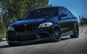 BMW, Frontale, nero, BMW, Pilastri, cielo