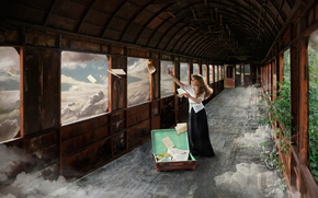 Art, suitcase, girl, Books, fantasy, car, clouds, page