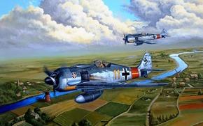 """river, monoplane fighter, Built, German, single-engine piston, """"Shrike"""", Single, land, Focke-Wulf, Art, drawing, sky, road"""