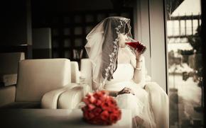 свадьба, букет, невеста