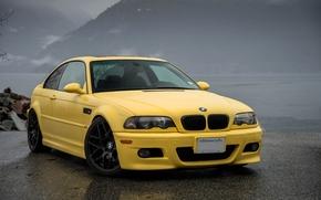 front view, BMW, BMW, asphalt, yellow, wet