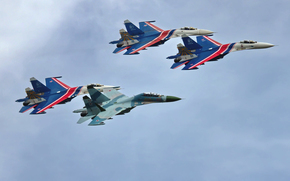 Fourth Generation, wings, four, aviation, Russian Knights, sky, multi-purpose, fighter, Day, in the air