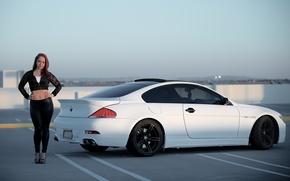 BMW, white, Drives, roof, parking, sky, Black, BMW, girl