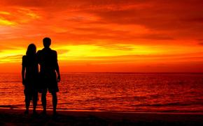 влюбленная пара, Романтические силуэт, природа, Индийский океан, Мальдивы, красивый красный закат небо, любовь, пейзаж