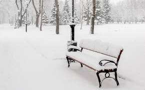 trees, bench, shop, snow, A bench, lights, winter, bench, ALLEY, nature, park