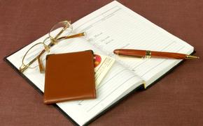 occhiali, penna, taccuino, titolare della carta, appuntamenti