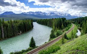cielo, natura, alberi, nuvole, foresta, fiume, Montagne, abete rosso, stradale, RAILS