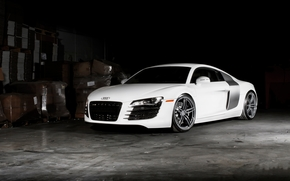 тонированный, Audi, вид спереди, ауди, белый