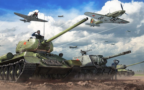 Fri, Medium Tank, land, fighter, ussr, IC, aviation, PT-ACS, sky, situation, Ardor, BARREL, Tankers, clouds, Tank destroyer, Heavy Tank, Tanks, iron