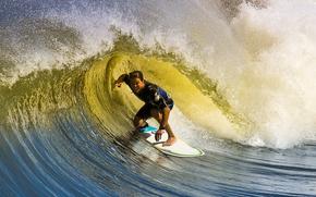 доска, сёрфинг, мужчина, волна